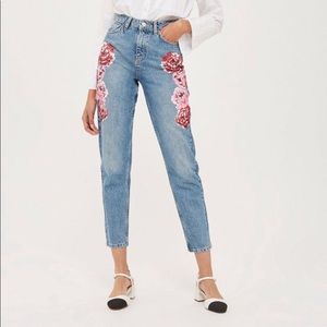Top shop Moto mom jeans  painted flowers